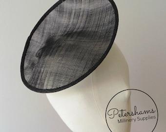 Rounded Scoop 21cm Sinamay Fascinator Hat Base for Millinery & Hat Making - Black