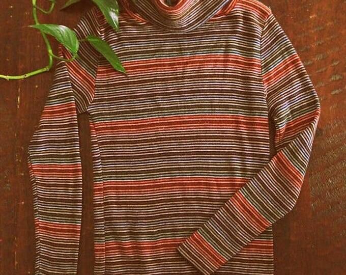WINTER SALE Vintage 70s striped turtleneck sweater / stretchy knit Boho Hippie sweater