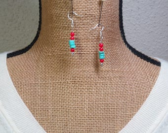 Natural American Turquoise & Red Coral 925 Silver Earrings