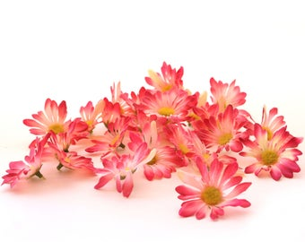 25 Small Pink Silk Daisies - Artificial Flowers, Silk Flowers, Blossoms