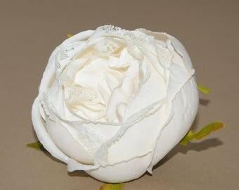 Light Cream Lace Cabbage Rose - Artificial Flower, Silk Flower Heads