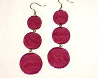 Hot pink 3 ball Bon Bon style earrings.