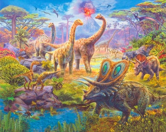 "Robert Kaufman - Picture This - Adventure Dinosaur - 36"" x 44"" Panel - Multi - Fabric by the Panel AYK17038267"