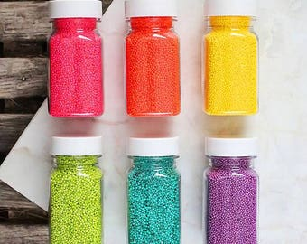 Bright Rainbow Nonpareil Sprinkles Set, Rainbow Sprinkles, Rainbow Nonpareils, Hundreds & Thousands, Fairy Bread Sprinkles, Edible Sprinkles