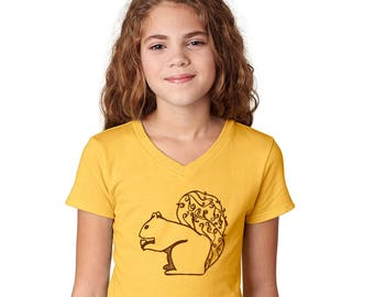 Squirrel Shirt, Girls Fitted Vneck Shirt, Shirts for Kids, Toddler Tee Shirt, Woodland Animals, Yellow Graphic Tee Shirt Hand Screen Printed