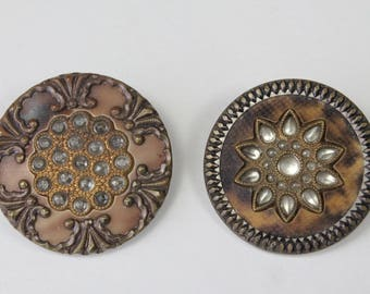 Antique Victorian Buttons Perforate Celluloid Glass Metal Buttons Vintage Sewing Craft Buttons 1800s