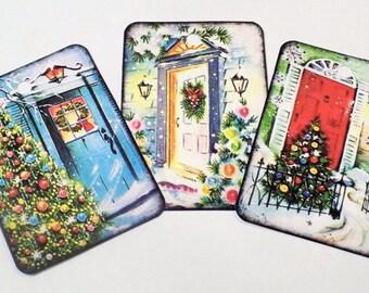Christmas Door Tags - Set of 9 - Vintage Christmas - Gift Tags - Holiday Door Tags - Home Decor Tag - Home For Christmas - Xmas Door Tags