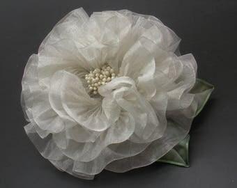 Winter Silver Pleated Flower Applique