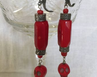 Red Coral and Skull drop earrings