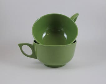 Pair Avocado Green Melamine Coffee Cups Vintage Mid Century Tea Cups