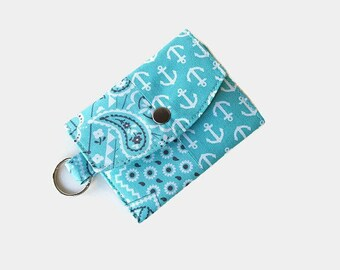 Turquoise Mini Key Ring Wallet - Pocket Wallet Credit Card Holder - Optional Key Fob - ID Holder - Small Travel Wallet - Key Ring Wallet