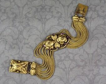 Vintage 1930s Czech Style Gilt Brass Filigree Amethyst Rhinestone Multi Strand Floral Bracelet