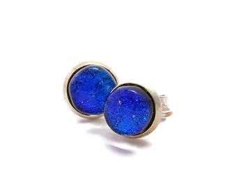 Dichroic Non-Pierced Clip On Earrings, Clip on Earrings, Blue Earrings, Silver Plated Earrings, Fused Glass Earrings, 153
