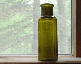 Antique Green Glass Bottle - Dug Embossed Old Bottle - Eclipse French Satin Gloss Dressing Olvie Green Glass Bottle