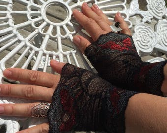 Cuffs - Burning Man - Lace Cuffs - Fingerless Gloves - Gypsy Boho - Clothing Accessory - Tribal - Black and Red Lace - Sexy - One Size