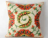 12x12 inches, Fully handmade silk embroidery art of Uzbekistan, Suzani pillow cover, suzani cushion, floral pillow