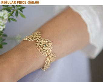 20% OFF - CIJ SALE Gold Lace Bracelet With Blue Crystals - Gold Statement Jewelry - Bride Jewelry - Romantic Jewelry - Elegant Jewelry