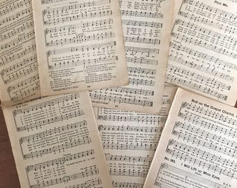 Bundle of 15 double sided vintage hymnal pages/ sheet music / paper ephemera