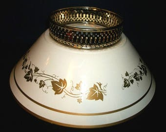 Vintage White and Brassy Metal Lamp Shade