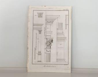 1751 COLUMN & CAPITAL details architecture original antique french building engraving - DIDEROT architecture print
