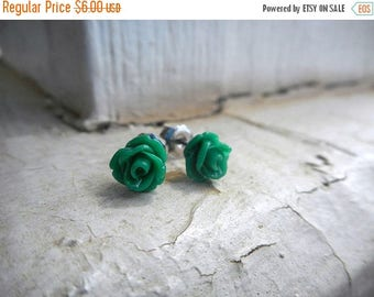 SALE ABSINTHE ROSES. Tiny green emerald rose. titanium post stud earrings little studs. Gift for her under 10 . gift wrap. gift box. sweet d