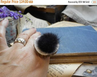 SALE FOREST SPECTRE. Genuine Ash Black mink fur ball and Elk antler slice ring. Taxidermy couture . Unusual gift . gift wrapped. gift under
