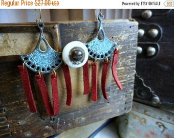 SALE The Sky Fire Leather Tribal Earrings. Teal Verdigris tribal elements & red suede leather fringe Boho earrings