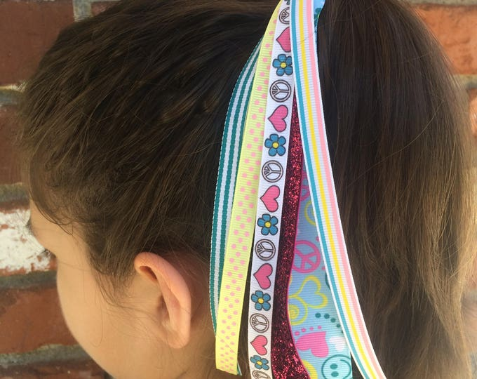 Peace Sign & Hearts Ponytail Streamer