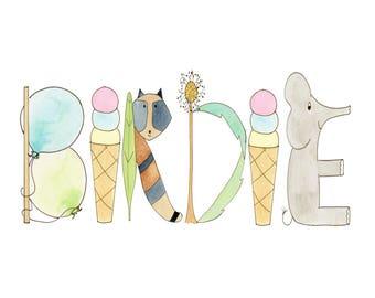 Personalized Nursery Print, Name Art, Woodlands Theme, Animals, Dandelion, Teepee, raccoon, Goose, dragonfly, hedgehog, BIRDIE, Gavin, BEAU