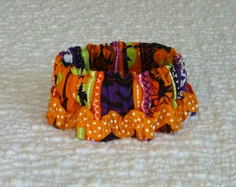 """Dog Ruffle Collar, Halloween Monster Stripes Dog Scrunchie - dotted rick rack - Size XS: 10"""" to 12"""" neck"""