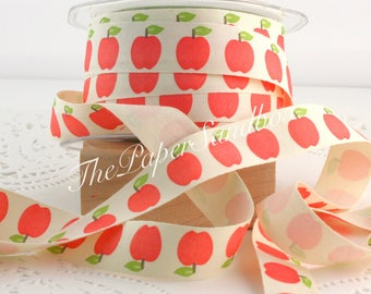 """Apple Patterned Ribbon, 3/4"""" wide by the yard, Cotton Twill Ribbon, Apple Print, Teacher Gifts, Gift Ribbon, Gift Wrapping, Party Supplies"""
