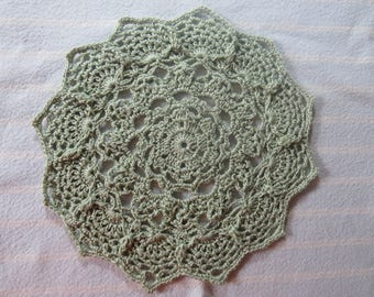 Pale Sage Doily-7 inch Doily-Pineapple Textured Doily-Egyptian Cotton HandCrocheted Doily-Cindy's Loft