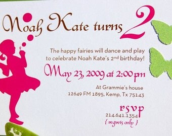Bubbles and Butterflies Fairy Child Birthday Invitation, Girl Birthday Party Invitation, Floral Party Invitation, Kid's Birthday Party