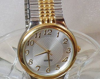 SALE Vintage M Z Berger Men's Watch. Gold and Silver Tone. Silver Face. Stretch Band Watch.