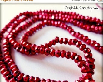 8% off SHOP-WIDE, CHERRY Red Pyrite Faceted Rondelles, 3.4mm, 1/4 strand (3.25 inches), warm red metallic, sparkly - Reg. 6.35