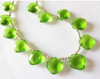 8% off SHOP-WIDE, PERIDOT Green Hydro Quartz Faceted Cushion Briolettes, Choose a Focal Bead or Matched Earring Pair or Both