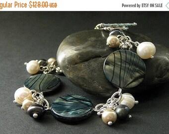 SUMMER SALE Peacock Shell Bracelet. Fresh Water Pearl Bracelet. Ocean Bracelet. Navy Blue Pearl Bracelet. Silver Bracelet. Butterfly Wing Sh