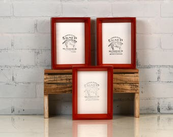 """5x7"""" Picture Frame in Park Slope Style with Vintage Red Dye Finish - IN STOCK - Same Day Shipping - 5 x 7 Frame Rustic Red Solid Wood"""