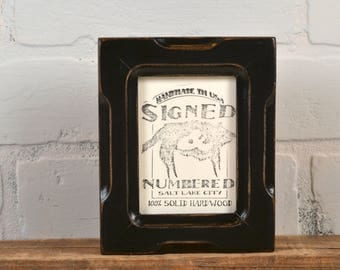 """Wallet Photo Frame 2.5 x 3.5"""" ACEO Card Size in Shallow Bones Style with Vintage Black Finish - IN STOCK - Same Day Shipping"""