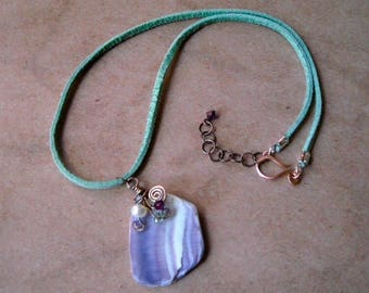 Weathered Sea Shell Shard Pendant Necklace