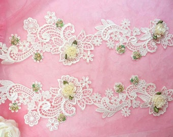 """Embroidered Lace Appliques Ivory Floral Venice Lace Mirror Pair 14"""" Sewing Supplies DIY (DH81X-iv)"""