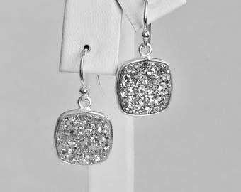 Silver Druzy Quartz Square 13x13mm Dangle Earrings