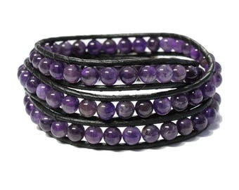 Amethyst Triple Wrap Bracelet -  6.5 to 7 Inch wrist size - 6mm beads with 2mm black lather cord - pewter button closure