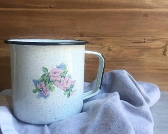 Vintage Enamelware Black Speckled Container with Handle and Rose Transfer Farmhouse Home Decor