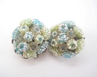 Vintage Japan Clip On Earrings • Vintage Mid Century Blue Green and White Bead Earrings