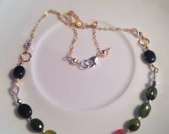 Sterling silver / Gold Filled Mixed Metals Handmade Watermelon Tourmaline Necklace