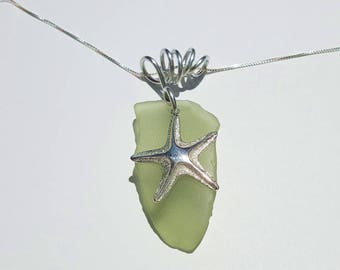 Pale Green Sea Glass Necklace handmade with sterling Starfish with aluminum bale