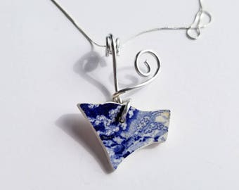 Cobalt Transferware Sea Pottery Necklace handmade with sterling Chain and silver aluminum bale