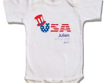 USA 4th of July baby shirt - USA shirt - American baby shirt