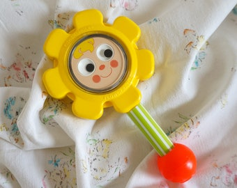 Vintage 1970s Baby Toy / Fisher Price Flower Rattle